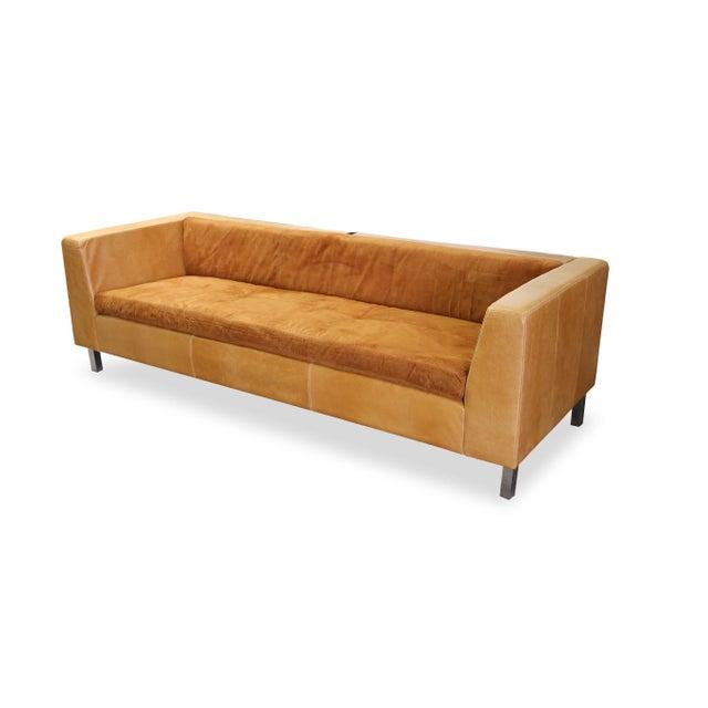 Modern Brazilian Brown Suede Sofa - Image 2 of 5