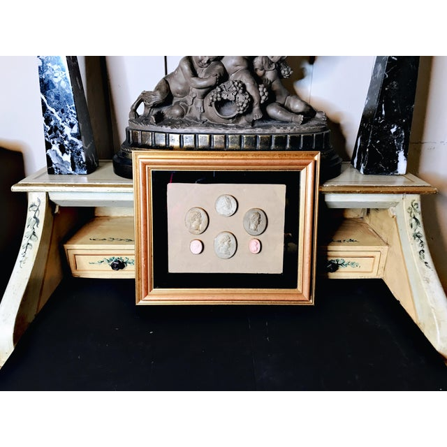Gorgeous set of Neoclassical Italian and French 6 Cameos, framed with black velvet overlay 2 small pink colored ones -...