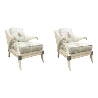 Contemporary Caracole Asian Modern Empress Club Chairs - a Pair For Sale