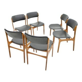 Erik Buch Dining Chairs in Teak and Black Leather, Denmark 1960s For Sale