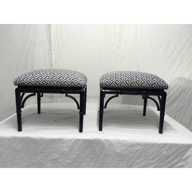 Blue Tomlinson Faux Bamboo Benches, a Pair For Sale - Image 8 of 8