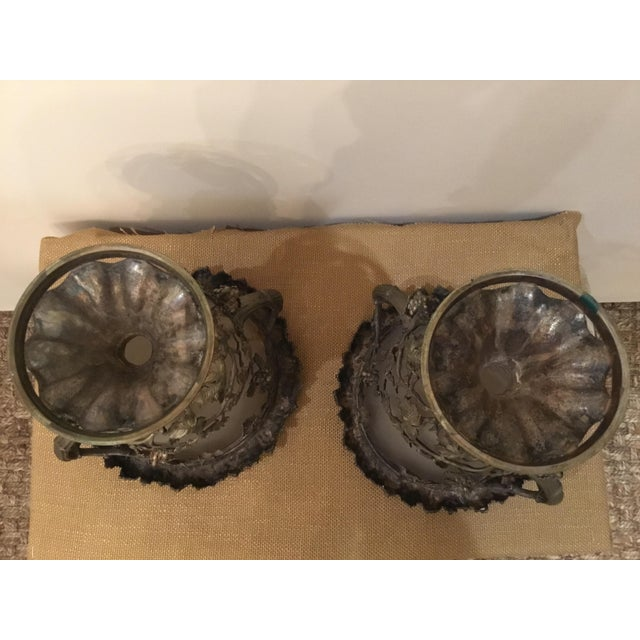 19th Century Antique Glass and Metal Urns - a Pair For Sale In Los Angeles - Image 6 of 9