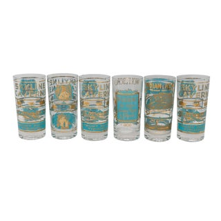 Mid Century Hollywood Regency Gold & Blue Drinking Glasses - Set of 6 For Sale