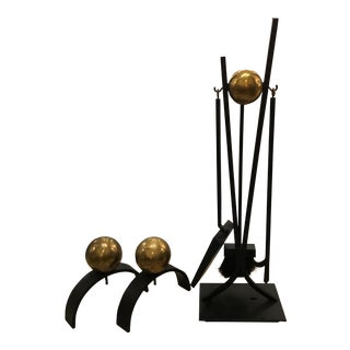 Mid Century Andiron and Fire Tool Set For Sale