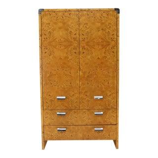 Mid-Century Modern Burl & Chrome Gentleman's High Chest Armoire Dresser Cabinet For Sale