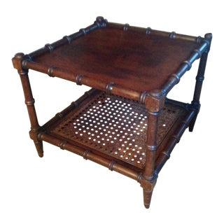 Mid 20th Century Wood Faux Bamboo Table For Sale