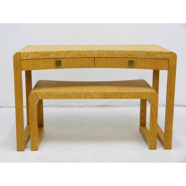 Birds Eye Maple Burl Wood Desk & Bench - Image 3 of 11