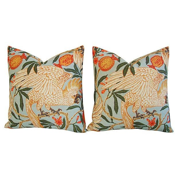 "20"" Colorful Tropical Parrot & Pomegranate Feather/Down Pillows - Pair - Image 7 of 8"