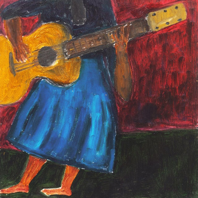 Modern 'Woman Playing Guitar' by Jonathan Taylor, California Post Impressionist Oil, Moss Landing For Sale - Image 3 of 8