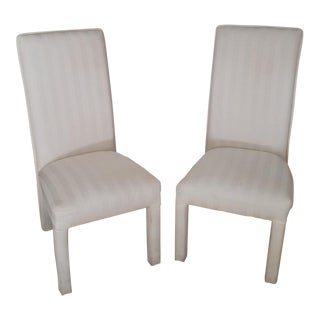 Art Deco White Striped Upholstered Chairs - a Pair