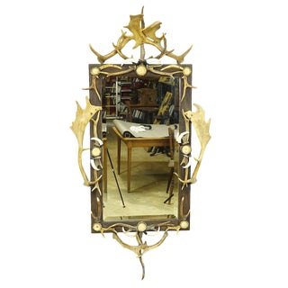 Large Antique Mirror With Rustic Antler Decorations For Sale