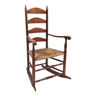 Antique Farmhouse Rocking Chair With Rush Seat For Sale