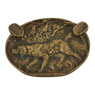 Antique Bronze Hound Ashtray For Sale