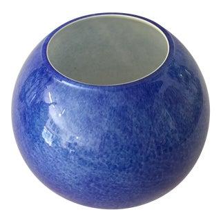 Mid Century Cobalt White Cased Glass Tulip Bowl For Sale