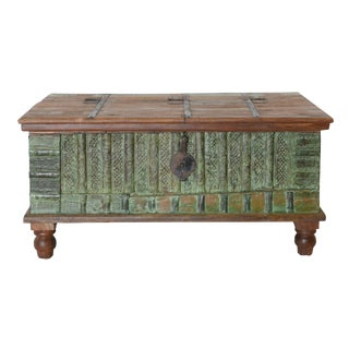 1970s Boho Chic Reclaimed Green and Brown Wood Trunk