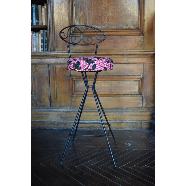 Vintage Wrought Iron Swivel Bar Stools - A Pair - Image 2 of 6