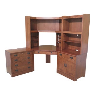 Mission Stickley 5 Piece Mission Oak Corner Desk Modular Unit For Sale