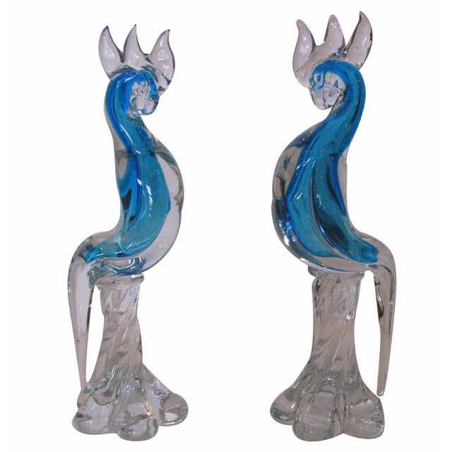 Murano Blue Glass Cockatoos - A Pair - Image 1 of 5