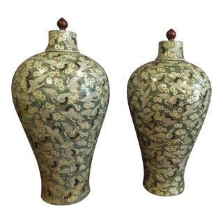 Large Sea Foam Heron Floral Motif Ceramic Lidded Urns - a Pair For Sale