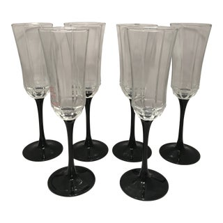 1980s French Black Stem Glass Champagne Flutes - Set of 6 For Sale