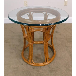 Vintage Rattan Round Glass Top Side Table Preview