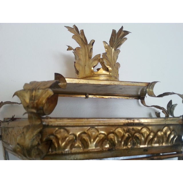 Venetian Style Gilt Tole and Glass Wall Lantern For Sale - Image 5 of 10