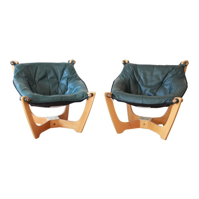 Odd Knutsen Teak Luna Chairs in Green Aniline Leather - a Pair For Sale - Image 12 of 12