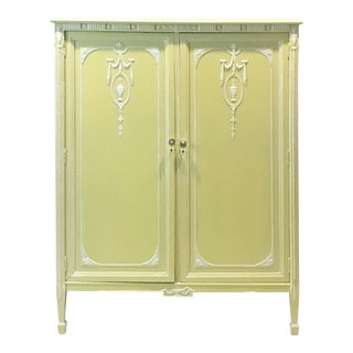 Vintage French Country Style Yellow Armoire