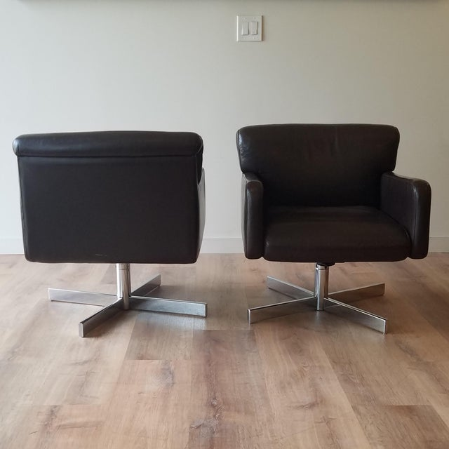 1980s Leather Swivel Reclining Chairs - a Pair For Sale - Image 4 of 12
