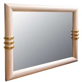 1970s Cerused Oak and Brass Banded Vertical or Horizontal Mirror For Sale