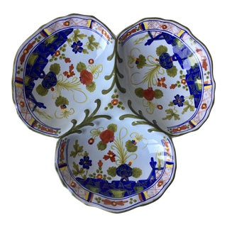 "13""Italian Faience Serving Dish-'Blue Carnation'-Garofano"