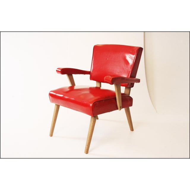 Mid Century Modern Red Viking Artline Slipper Chair For Sale - Image 5 of 11