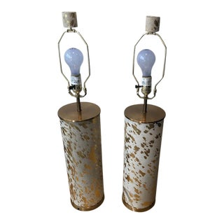 Arterior Home Edie Gilded Hide Lamps-A Pair For Sale