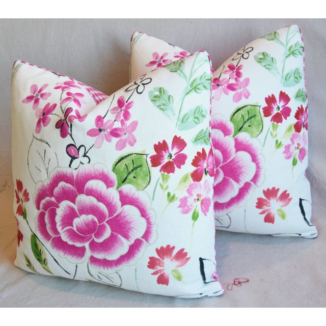 "Green French Manuel Canovas Floral Linen Feather/Down Pillows 20"" Square - Pair For Sale - Image 8 of 13"