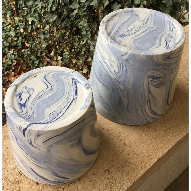 Abstract Abstract Modern Blue and White Porcelain Plant Pots - Set of 2 For Sale - Image 3 of 5