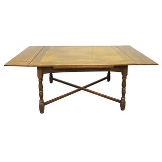Solid Wood Four Leg Folding Table For Sale