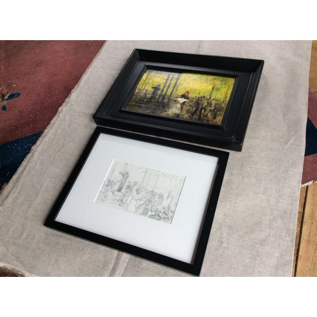 Wood French Impressionist Style Oil Painting & Drawing - A Pair For Sale - Image 7 of 9