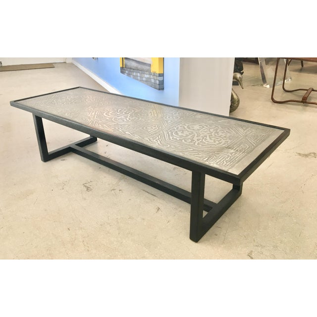 Contemporary Coffee Table With Etched Metal Inlay and Ebonized Wood Frame For Sale - Image 12 of 12