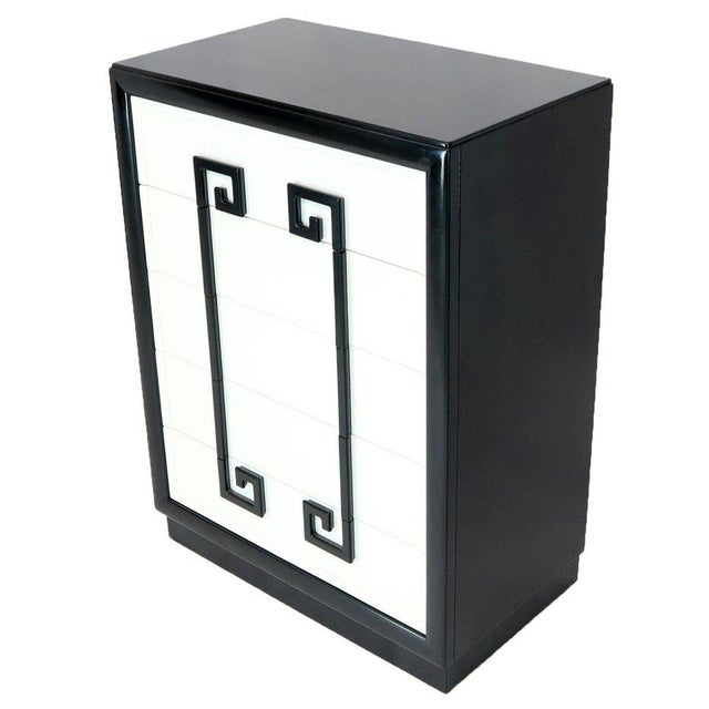 1970s Kittinger Mandarin Style Chest Dresser Black and White Lacquer Five Drawers For Sale - Image 5 of 11