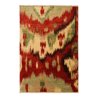 Ikat Modern Carmelo Red/Brown Wool Rug - 3'0 X 4'0