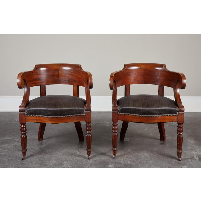 Pair of 19th C. Swedish Mahogany Armchairs For Sale - Image 10 of 10