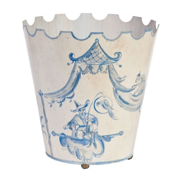 Toile Pail Painted in Blue and White For Sale