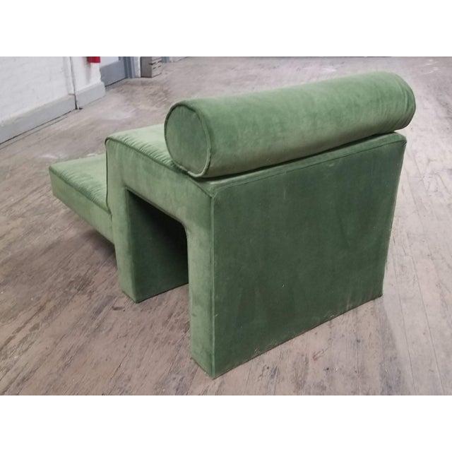 "MId century Vladimir Kagan ""omnibus"" chaise lounge with ebonized oak base. All new upholstery."