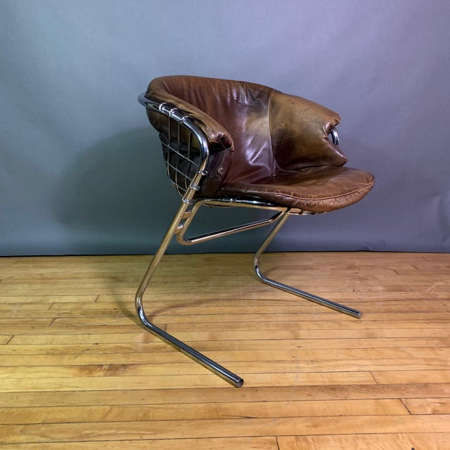 1970s Gaston Rinaldi 1970s Leather Wireframe Armchair, Rima Italy For Sale - Image 5 of 12