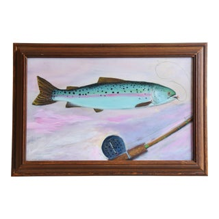 1950s Folk Art Rainbow Trout Fish & Reel Painting For Sale