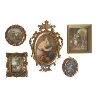 Vintage Mid-Century Florentine Gilt Framed Art Pieces- Set of 5 For Sale
