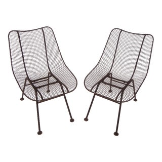 1950s Russell Woodard Wrought Iron & Mesh Chairs - a Pair For Sale