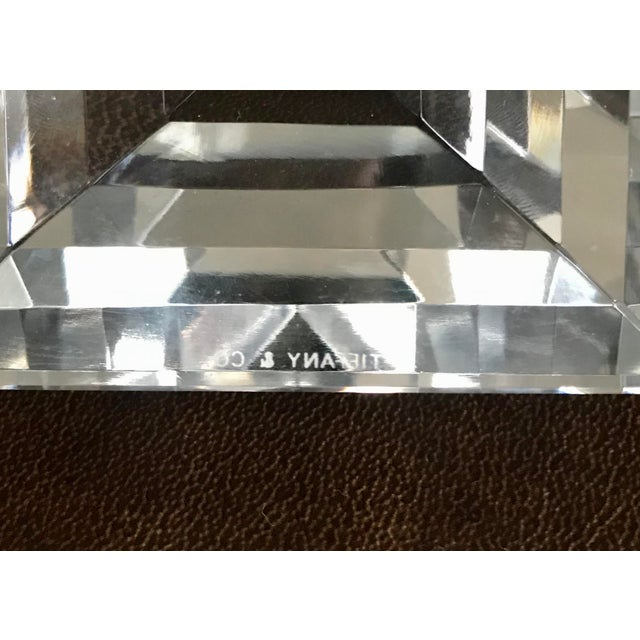 Transparent Tiffany & Co Crystal Pyramid Paperweight For Sale - Image 8 of 9