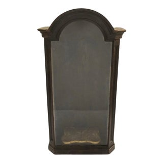French 19th Century Walnut Niche Display Cabinet Arch Top For Sale
