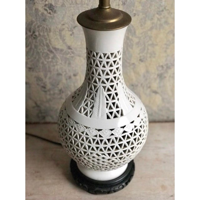 Mid-Century Blanc De Chine Ceramic Pierce Work Urn Table Lamp For Sale - Image 10 of 12